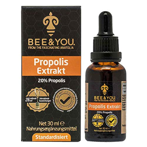 Bee&You Propolis Extrakt Tinktur 20% (Standardisiert auf 20%, Fairer handel, Keine Zusatzstoffe)