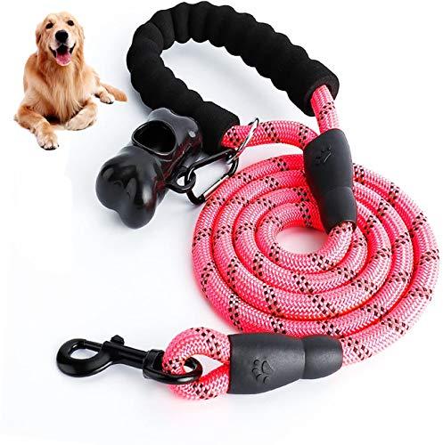 PATIO PLUS Hundeleine aus Seil, mit weich gepolstertem Griff und hochreflektierenden Fäden, Premium-Qualität, Hundeleine, unterstützt das stärkste Ziehen, für große, mittelgroße Hunde, 152 cm, Rosa