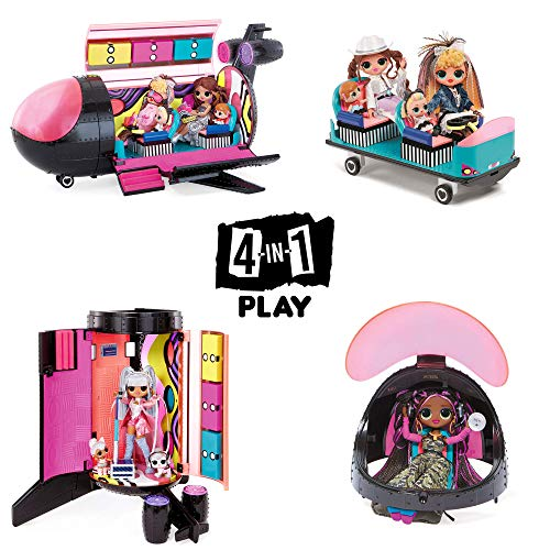 LOL Surprise OMG Remix 4-in-1 Plane Playset – Plane, Car, Recording Studio and Mixing Booth with 50 Surprises