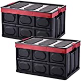 Plastic Storage Crates, Pack of 2 Stackable Plastic Storage Boxes Container Collapsible Plastic Crates Bins Basket with Lid for Home Office Kitchen Shoes Clothes Toys Books Grocery Storage, 28L-Black