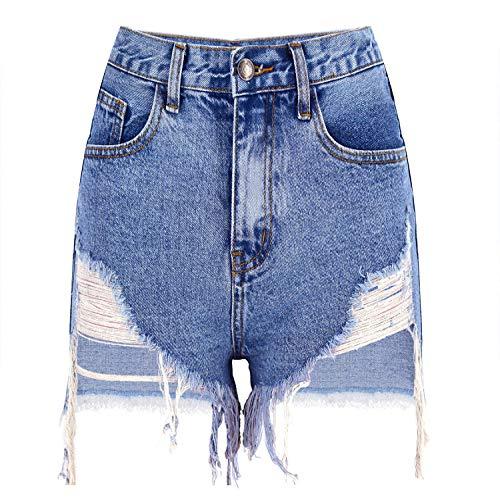 HOSD High Waist Slim Washed Irregular Frayed Denim Shorts Street Women