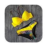 Traje de baño de Mujer 2020 Traje de baño de Rayas Sexy Traje de baño de Mujer Push Up Bikini Set Verano Traje de baño de Cintura Baja Traje de baño de Talla Grande Xxl-JSNT88Y1-L