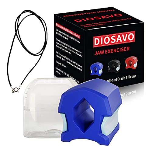 DIOSAVO Upgraded Jaw Exerciser - Smaller Size For Better Fit - Double Chin Reducer Eliminator - Define Your Jaw Line (Blue - StartLevel)