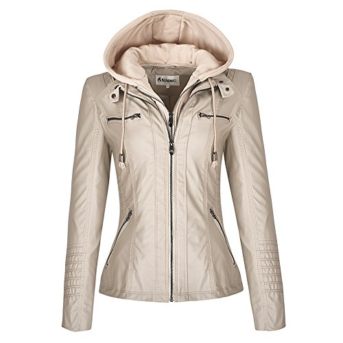 Blivener Womens Classic Faux Leather Hooded Jackets Zip Up Coat Outerwear Jacket Apricot 12