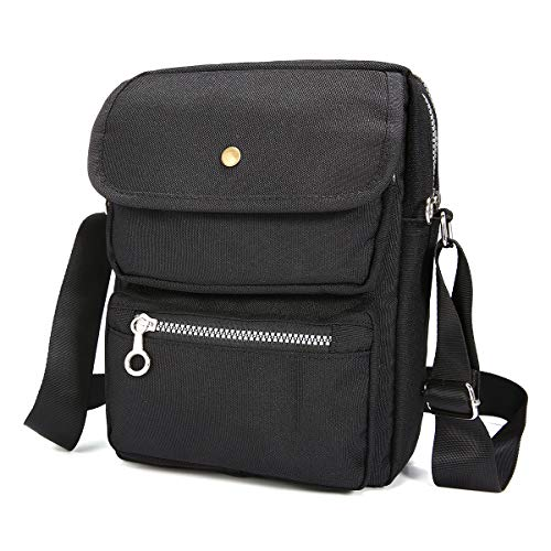 Nylon Shoulder Bag Unisex Messenger Bag for Men Women, JOSEKO Crossbody Bag Handbags Multi-Pocketed Purse Lightweight Waterproof Travel Bag Organizer Purse Wallet Passport for Daily Work