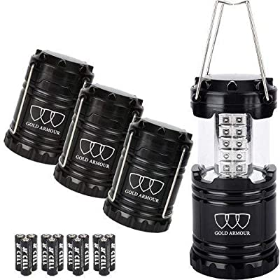 Gold Armour LED Lantern Camping Lanterns 4Pack - Camping Equipment Camping Gear Camping Lights for Hiking, Emergency, Hurricanes, Outages, Storms, Camping Lanterns