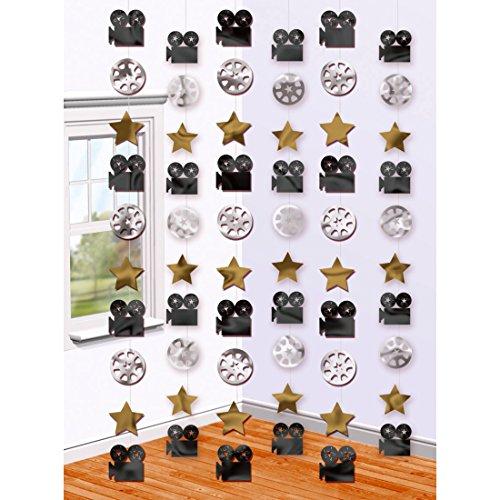Amakando Suspensions thème cinéma - 210 cm | 6 Pendentifs décoratifs Hollywood | Ornementation de Salle | décorations de fête cérémonie des Oscars