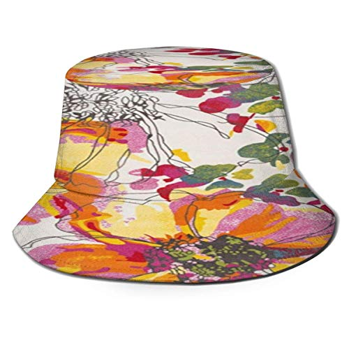 Beyond Loser Bucket Hat,Fishing Hat Modern Bright Flowers Soft Cotton & Polyester Fabric Unisex Wide Sun Cap Windproof for Hiking Camping Traveling Fishing