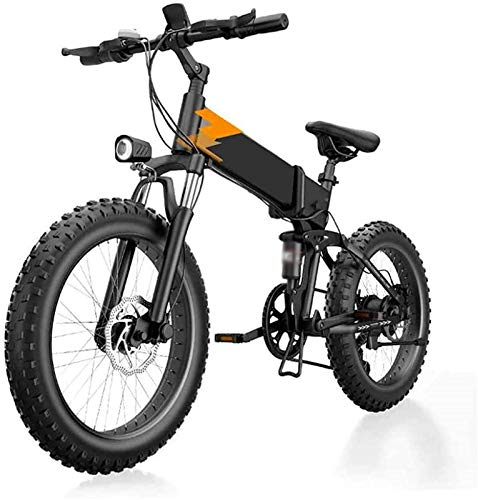 Bicicleta Eléctrica Plegable Bicicleta eléctrica de nieve, bicicletas eléctricas de 20 pulgadas Montaña, aleación de aluminio Neumático de grasa Bicicleta 48V batería de litio 7 velocidades Batería de