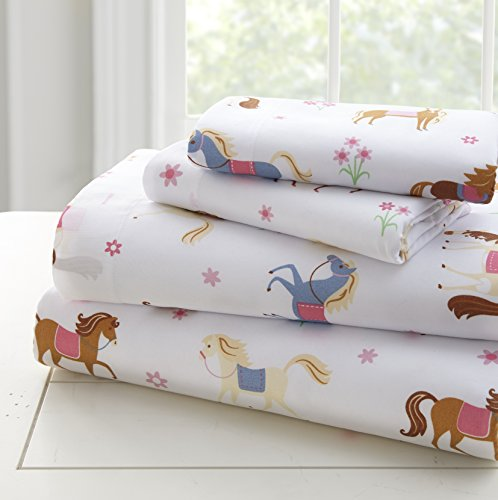 Wildkin Kids Microfiber Twin Sheet Set for Boys and Girls, Bedding Sheet Set Includes Top Sheet, Fitted Sheet, and One Standard Pillow Case, BPA-Free, Olive Kids (Horses)