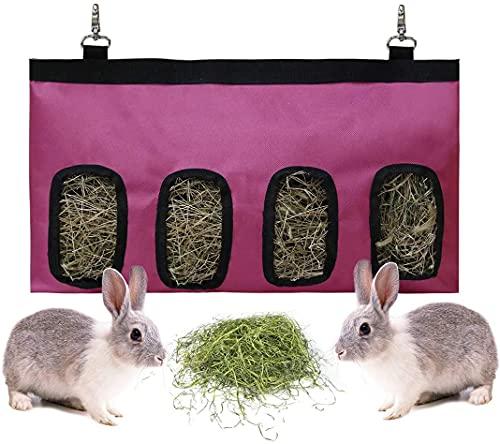 Namvo Bolsa de comedero de heno de conejo, almacenamiento de alimentos de conejo, heno de alimentación colgante para animales pequeños, tela Oxford de gran tamaño 600D, color rojo