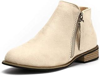 f05c83154307ef Boots Femme Daim Bottine Femmes Plates Basse Cuir Bottes Chelsea Chic  Compensées Grande Taille Talon Chaussures