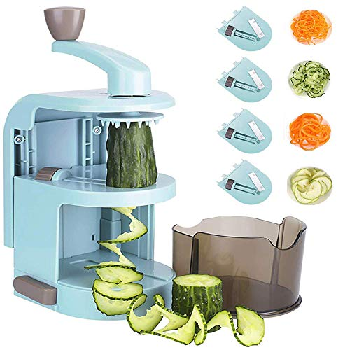 KEOUKE Zucchini Noodle Maker Spaghetti Spiralizer- 4 Built-in Vegetable Slicer for Veggie Noodles and Curly Chips