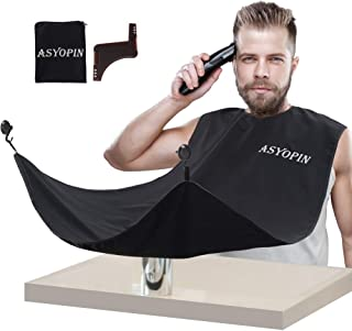 ASYOPIN Beard Bib -Beard Hair Catcher for men -Beard Apron for Shaving and T -Black -One Size Fits All -Perfect Grooming G...