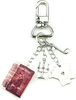 Les Miserables Victor Hugo Clay Mini Book Key Chain Ring Bag Purse Backpack Clip Trigger Snap Loop
