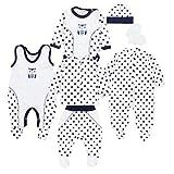 TupTam Baby Bekleidungsset Erstausstattung Sterne 7 teilig, Farbe: Eule Sterne Dunkelblau/Weiß, Größe: 62