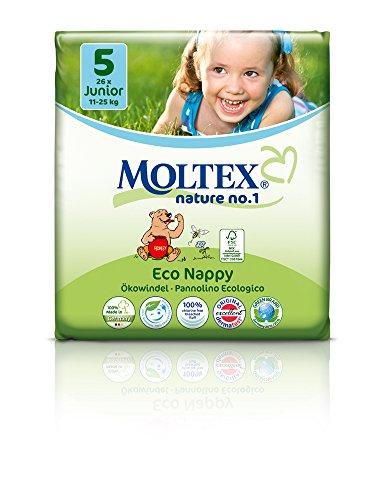 Moltex Nature n°1 BEAR Couches Jetables et Biodégradables pour bébés Différentes tailles (Taille 5 Junior 11 à 25 Kg, carton)
