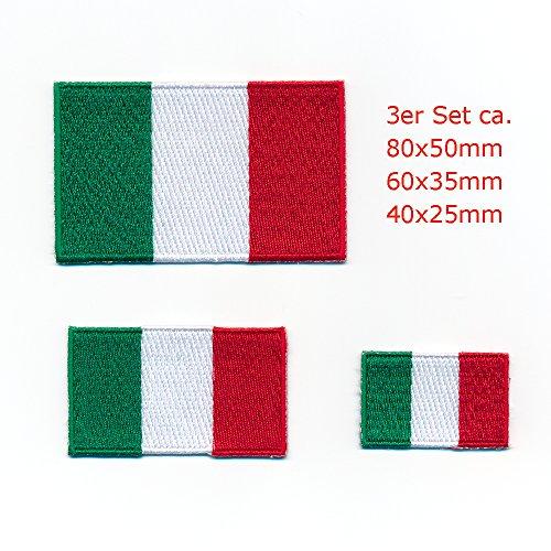 hegibaer 3 Italien Flaggen Italia Rom Venedig Mailand Aufnäher Aufbügler Patch Set 0926