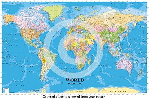 Enorme laminada/encapsulada mapa político del mundo político detallado Inglés LP Póster incluye mar contornos, medidas 36x 24pulgadas (91.5x 61cm)