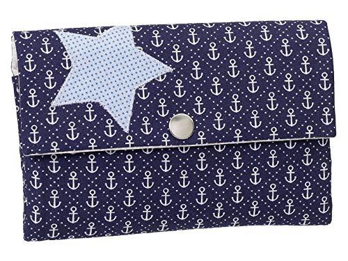 Damenbörse Damen Geldbörse Portemonnaie Handmade Stoff Anker Stern Blau Druckknopf