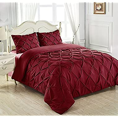 King & Queen Home Reinforced Double Stitch 3 Piece Pinch Pleat Comforter Set (Queen, Burgundy)