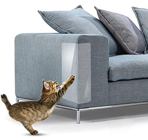 Protezione Graffi Gatto, zootop 10 pezzi Protezione per divano antigraffio da gatti per mobili da divano Protezione trasparente per divano per gatti con 60 perni (18 ' x 12', 18 'x 9', 18 'x 6')