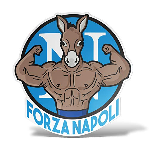 erreinge Sticker Forza Napoli Supporter Calcio Ultras Adesivo Sagomato in PVC per Decalcomania Parete Murale Auto Moto Casco Camper Laptop - cm 10