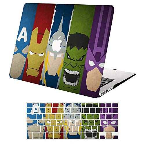 MacBook Air 13 Inch Case A1369 & A1466, AJYX Plastic Hard Shell Case & Keyboard Cover Skin for MacBook Air 13 inch Older Version 2010-2017 Release, DH330 Marvel