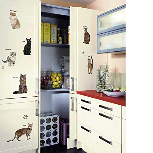 DINGDONG ART Wall Stickers 3D Lovely Cat Type Cabinet Bedroom Home Decor Decal Poster Background Cute Combination