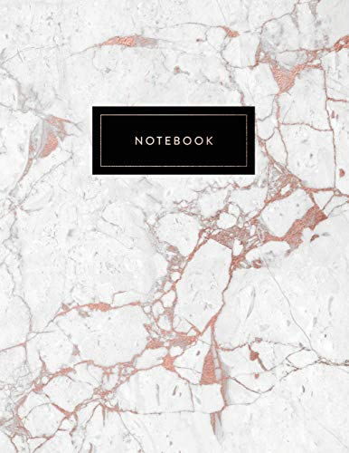 Notebook: Beautiful White and Rose Gold Marble with Elegant Title Block | 150 College-ruled (7mm) Lined Pages | 8.5 x 11 - (A4 Size) (Marble and Gold, Band 1)