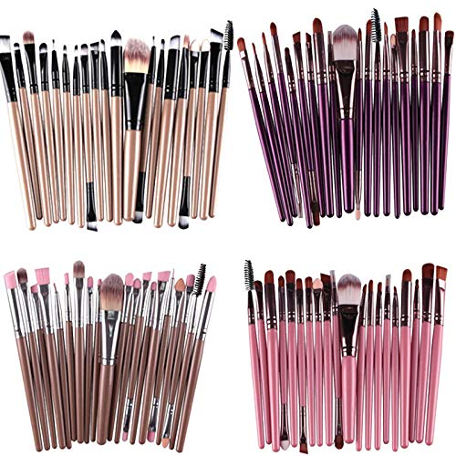 Fhuuly 20 pcs Maquillage Brosse Set outils Maquillage Trousse de Toilette Laine Maquillage Brosse Ensemble MAG-541