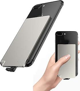 Smal tunn powerbank bärbar USB extern batteriladdare med inbyggd mikro-USB-ansluten kabelledning för mobiltelefon liten st...