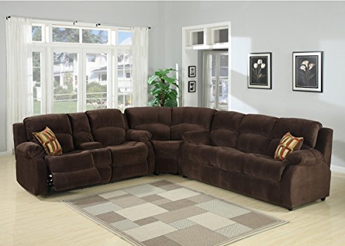 AC Pacific Tracey Collection Contemporary 2-Piece Transitional Tufted Living Room Set with Queen Sofa Bed and Reclining Loveseat with Storage Console and Cup Holders, Chocolate