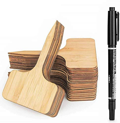 LATERN 50Pcs Bamboo Plant Labels, 10 x 6 cm T-Type Wooden Plant Sign Tags Eco-Friendly Garden Markers for Seed Potted Herbs Flowers Vegetables - with A Marker Pen