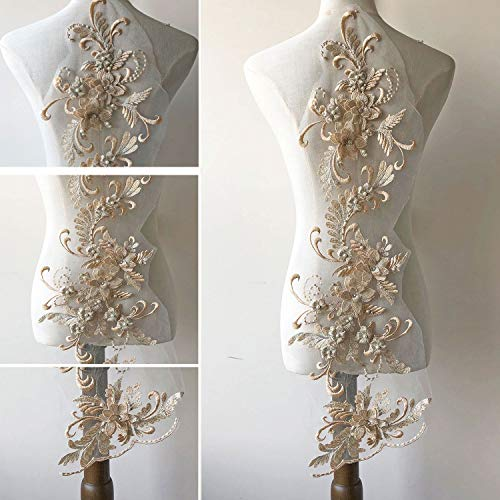 3D Beaded Flower Embroidery Lace Patch Applique Crystal Sewing Lace Motif for Dance Costumes Ballgown Champagne Color