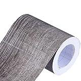 Mullsan 10Meters Gray Wood Wallpaper Border Peel & Stick Wall Covering Kitchen Bathroom Bedroom Tiles Decor Sticker