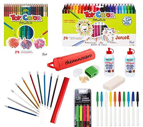 Set Back to School Theannozero para niños con estuche bolígrafos de bola de colores rotuladores para colorear goma para borrar, regla marcador de pegamento vinílico sacapuntas lápices