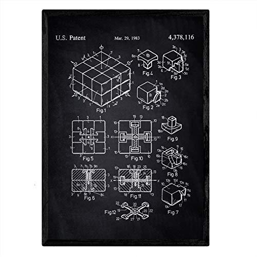 Nacnic Poster con patente de Cubo de rubik. Lámina con diseño de patente antigua en tamaño A3 y con fondo negro