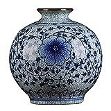 RTYHN Jarrones Decorativos Vintage,Jarrón de Cerámica para el Hogar,Jingdezhen Jarrón de Porcelana Azul y Blanco,Estilo de China Ming,Altura 22cm