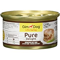 GimDog Pure Delight, pollo con vacuno – Snack rico en proteínas en deliciosa gelatina – Especial para perros de hasta 10 kg – Sin azúcar añadido – 12 latas (12 x 85 g)