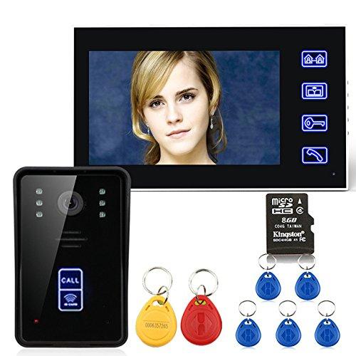 7'videoportero RFID puerta de intercomunicación del teléfono con la cámara CCTV de seguridad de la visión nocturna de la tarjeta de grabación 8G TF