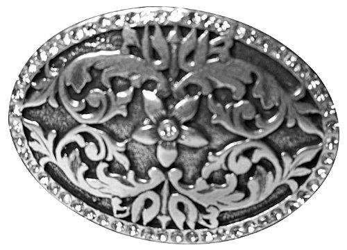 FRONHOFER ovale Gürtelschnalle fleur, Gürtelschnalle mit Blumenmuster und Straßsteinen Farbe altsilber, 17419, Größe:One Size, Farbe:Silber