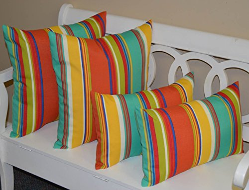 Resort Spa Home Decor Set of 4 Pillows ~ 2 20' Square & 2 Rectangle/Lumbar Coral, Yellow, Turquoise, Red, Blue, Green, White Bright/Colorful Stripe Indoor/Outdoor Pillows