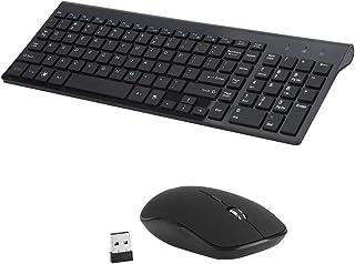 Sonmer Mini Ultra-Thin Mute Wireless Keyboard Mouse Set,2.4 GHz (Black)