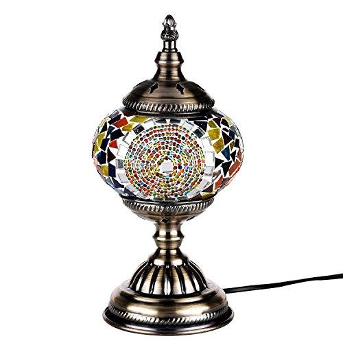 Lámpara Escritorio Turca de Mesilla de Noche Vintage para Dormitorio Mosaico cristal, Base Bronze (Multicolor)