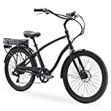 sixthreezero EVRYjourney Men's Electric Bicycle, 7-Speed Sport Hybrid eBike, 250 Watt Motor, 26' Wheels, Matte Black