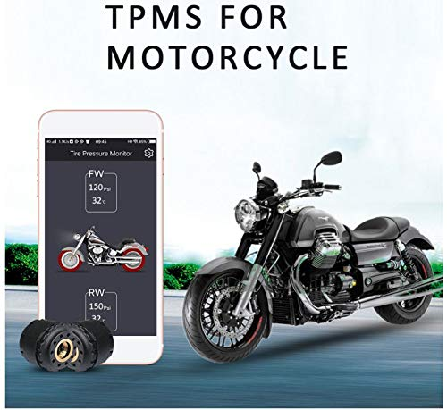 Acptxvh Motorrad-Reifendruck-Detektor-Monitor TPMS Externe Smart Bluetooth4.0 Messgerät Alarm-System Sicherheits-Support,Schwarz