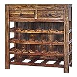 Coaster Home Furnishings Rectangular 2-Drawer Natural Sheesham Wine Cabinet