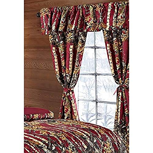 Regal Comfort The Woods Burgundy Camouflage 5pc Curtain Set for Hunters Cabin or Rustic Lodge Teens Boys and Girls (Curtain, Burgundy)