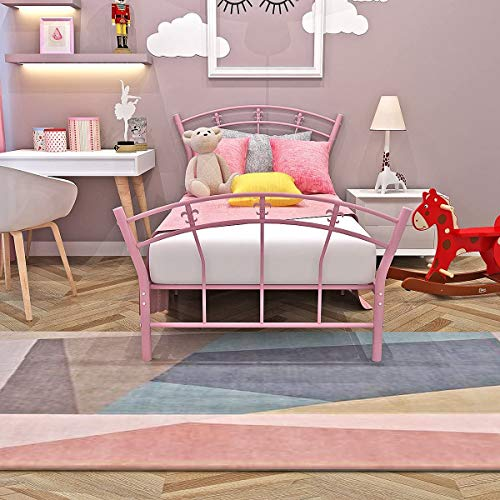Schöne Metall einzigen Bett für Erwachsene 95 x 110 x 198cm,Pink